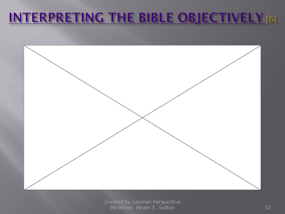 INTERPRETING THE BIBLE OBJECTIVELY [6]